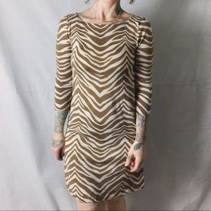 J. CREW COLLECTION Merino Wool Tiger Stripe Dress